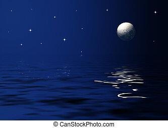 luz de la luna, mar