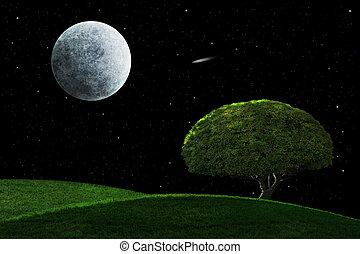 luz de la luna, noche, con, solitario, árbol