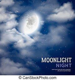 luz de la luna, noche, ilustración