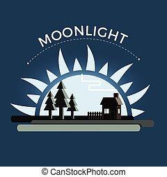 luz de la luna, noche, vector