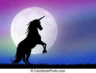 luz de la luna, unicornio