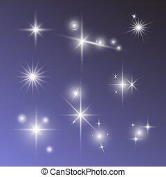 luz de las estrellas, conjunto, sparkly