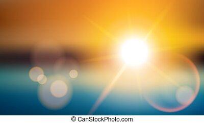 luz del sol, efecto especial, lente, flare., confuso, brillar, plano de fondo
