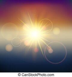 luz del sol, efecto, lente, flare., confuso, brillar, fondo., vector.