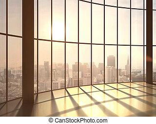 luz del sol, oficina
