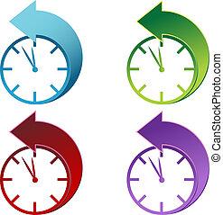luz dia, poupança, relógio tempo