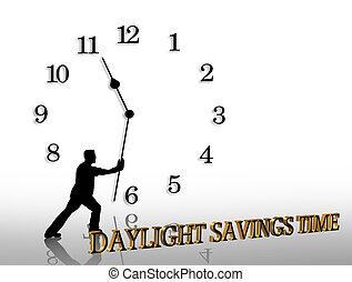 luz dia, poupança, tempo, gráfico