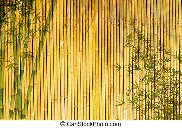 luz, dourado, bambu, fundo, grande, para, qualquer, project., quadro, de, bamboo-leaves, experiência.