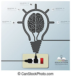 luz elétrica, cérebro, infographic, fundo, bulbo, linha, educação