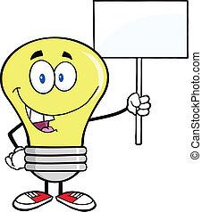 luz, em branco, bulbo, sinal