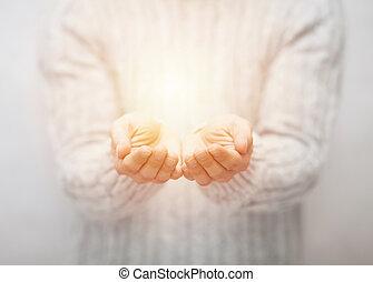 luz, em, mãos