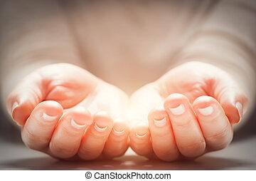 luz, em, mulher, mãos