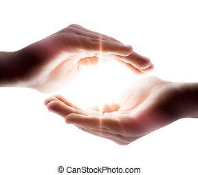 luz, em, seu, mãos