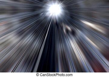 luz, en, túnel