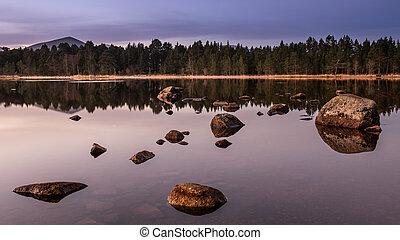 luz, encima, escocia, morlich, lago, primero
