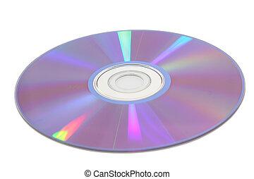 luz, encima, espalda, aislado, reflexiones, blanco, cd
