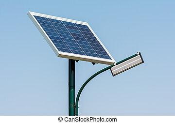luz, energía, poste, solar