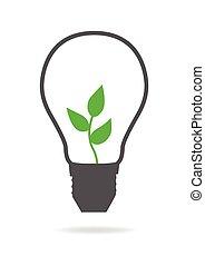 luz, energía, verde, bombilla