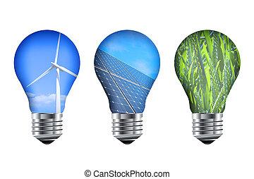 luz, energia, bulbos