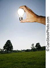 luz, energia, verde, soluções, bulbo