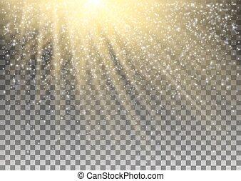 luz entusiasta, efecto, en, transparente, fondo., vector