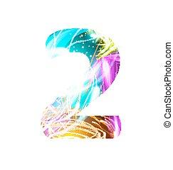 luz entusiasta, efecto, neón, font., apariencia el diseño, texto, symbols., brillante, número 2