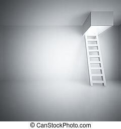 luz, escada, sala, cima