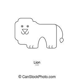 luz, escuro, experiência., leão, magra, logotipo, linha, style., ícone