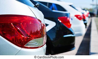 luz, espalda, automóvil