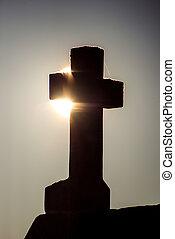 luz, espalda, cruz