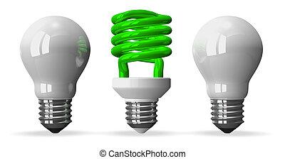 luz, espiral, dos, unos, verde, tungsteno, bombilla, blanco