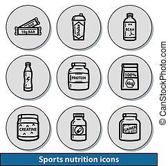 luz, esportes, nutrição, ícones