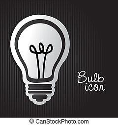 luz, etiqueta, bulbo