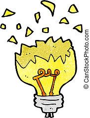 luz, explodindo, caricatura, bulbo