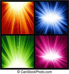 luz festiva, anos, estrelas, novo, natal, explosões