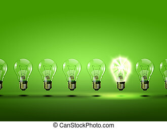 luz, fila, bombillas