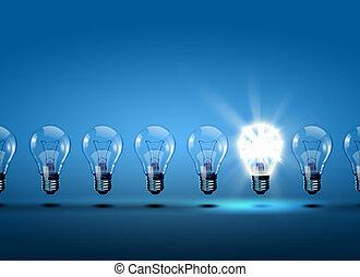 luz, fila, bulbos