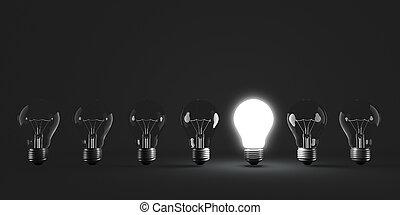luz, fila, iluminado, bulbo, um