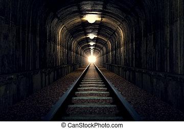luz, fim, tunnel.