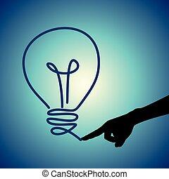 luz, fingertip., bulbo