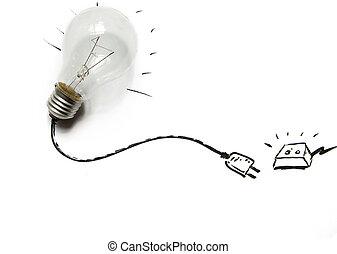luz, fio, bulbo, unplug