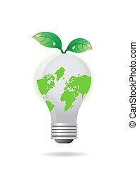 luz, folhas, global, bulbo