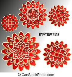 luz, fondo., flores rojas, tarjeta de navidad