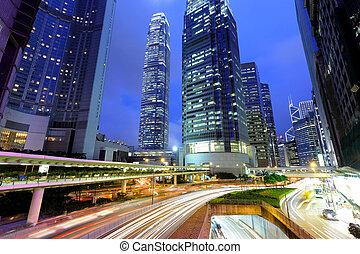 luz, highrise, tráfico, corriente, bulidings