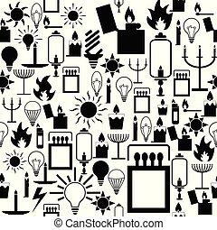 luz, icon., seamless, padrão experiência