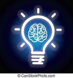 luz, icono, vector, bombilla, cerebro