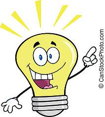 luz, idéia brilhante, bulbo