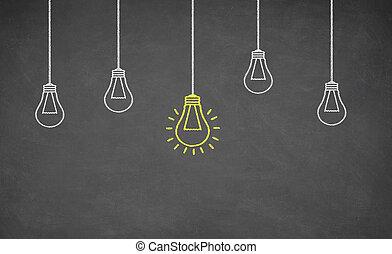 luz, idéia, bulbo, quadro-negro
