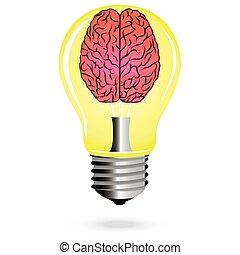 luz, idéia, cérebro, luminoso, vetorial, bulbo