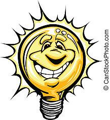 luz, idéia, luminoso, bulbo, cartoo, feliz